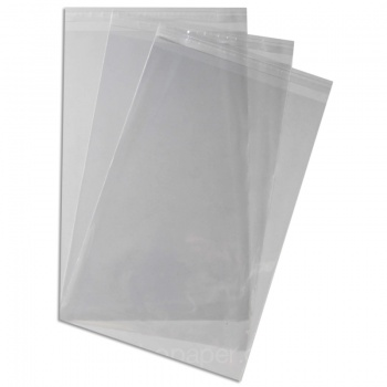 Cello Bags 240 x 370mm with 30mm Lip & Self seal Tape