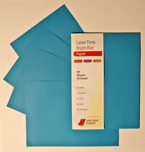 Laser Tints  Bright Blue Paper  A4  80gsm