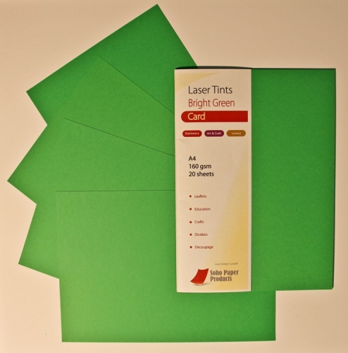 Laser Tints Bright Green Card  A4  160gsm