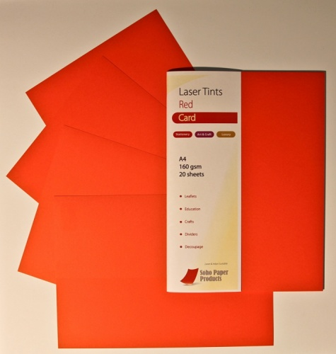 Laser Tints  Red Card  A4  160gsm