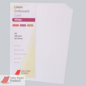 Linen Embossed Premium White A4 250gsm Card